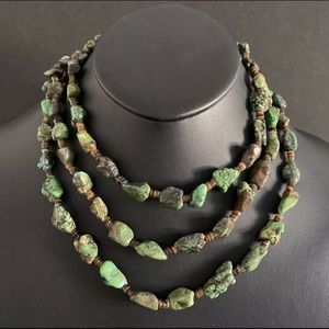 Jewelry - S.S.Green Turquoise Nuggets withHeishiBeadNecklace